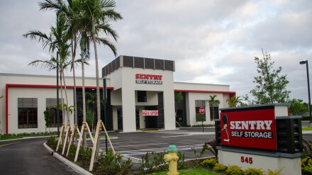 Entrance to Sentry Self Storage in Deerfield Beach, FL.